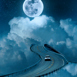 freetoedit sky heaven clouds moon road car blue blueaesthetic galaxy universe aesthetic aestheticedit aestheticwallpaper aestheticsky wallpaper background tumblr surreal bridge beautiful stars fantasy fcinyourownway inyourownway