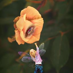 flower eye girl fairy toadstool freetoedit