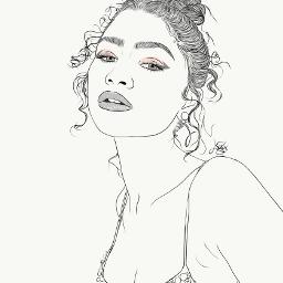 drawing outline sketch digitalart art outlineart digitaldrawing drawingart love creativity creative portrait girl zendaya freetoedit