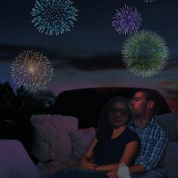 freetoedit fourthofjuly countrylife sundown fireworks relationshipgoals boyfriendandgirlfriend kiss pickuptruck madewithpicsart summertime summernights
