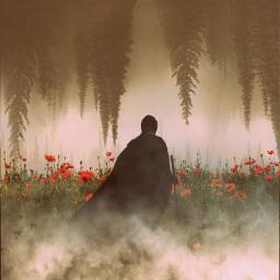 surreal surrealisticworld magical backgrounds woods trees black man cloak crust cloud smoke fog freetoedit