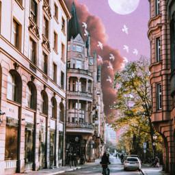 unsplash collage moon planet sky aestheticsky aesthetic birds clouds city buildings road street