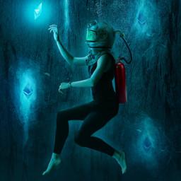 picsart papicks ether bitcoin sea underwater girl water cave glow glowing rock swim