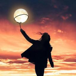 freetoedit moon girl sunset sky heypicsart be_creative