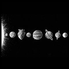 magazine black artist theme wall wallpaper blackandwhite heart planet planets sun solarsystem freetoedit