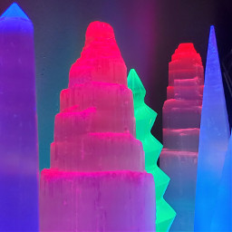 selenite neon towers crystals minerals light glow led freetoedit