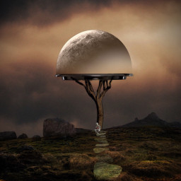 surrealisticworld background place mountain desert landscape hill surreal tray watersplash glass planet person reading book art creative landscaping path pathway stones effect vingnette freetoedit