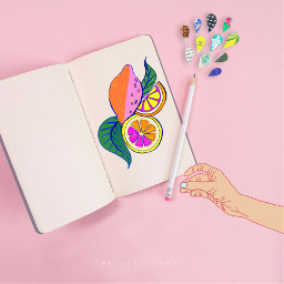 freetoedit madewithpicsart heypicsart madebyme makeawesome myedit book drawing hand pink colorful drops