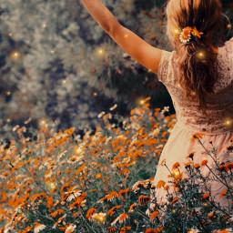freetoedit flower girl flowergirl sparkles flowerfield nature field pretty