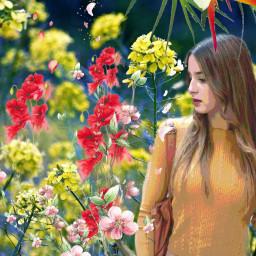 freetoedit picsart multicolor flowers interesting girl garden beautifuledit myedit amazing remixit remixed