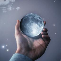 moon luna light luce night notte lunapiena fullmoon stars stelle contest sfida hand mano