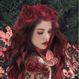 roses tattoed flowers redhair freetoedit