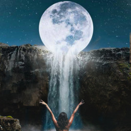night waterfall moon freetoedit