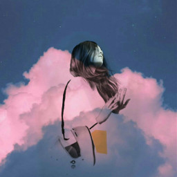 girl sky pink clouds be-creative freetoedit be