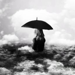 surrealart surrealism bnw umbrella cloud