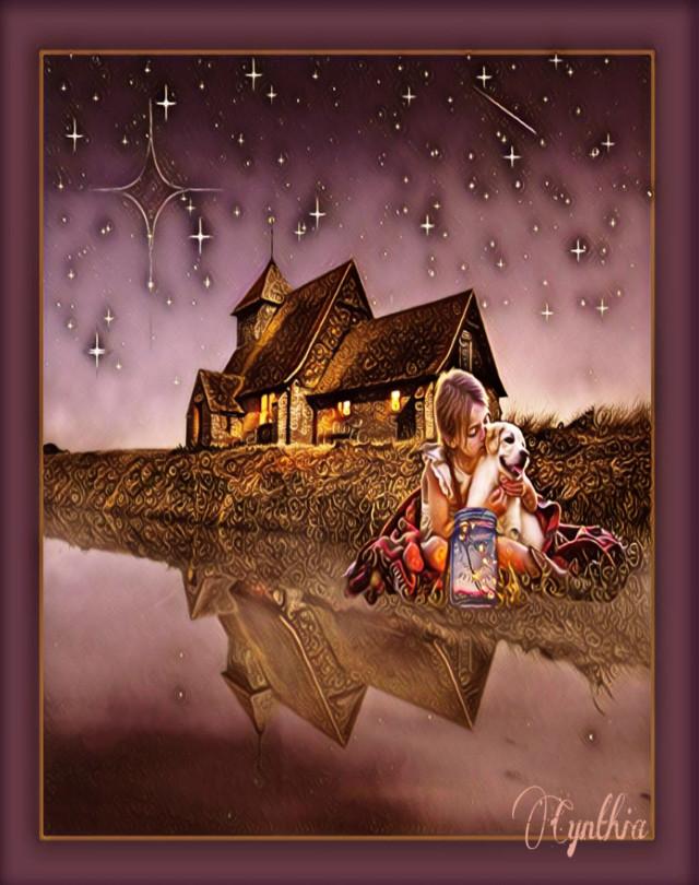 #magic #jar #lights #bright #nature #lake #nighttime #young #girl #fantasy #magiceffect @PicsArt