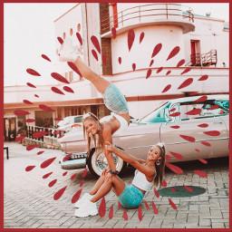freetoedit therybkatwins twin flexible contortion handstand yoga red lusynda9 srcinacircle inacircle