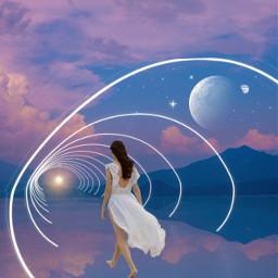circle tunnel sky girl freetoedit