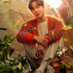yuyu yunho jeongyunho ateez kpop wallpaper lockscreen background colorful soft cute fantasy nature fairytale blue yellow manipulation manipulationedit idkman