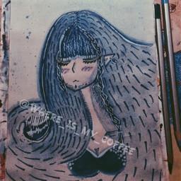 interesting drawing art elf sea seaelf