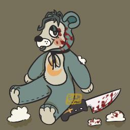 originalart digitalart notmyoc teddybear stuffed stuffing plush plushie knife posessed slightgore