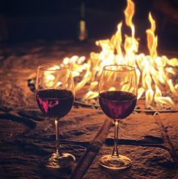 freetoedit wine firepit romantic night