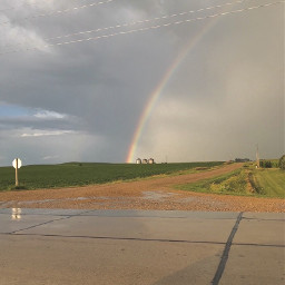 rainbow sky rain country nature