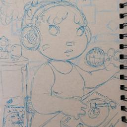 pudding cute drawing girl dj music