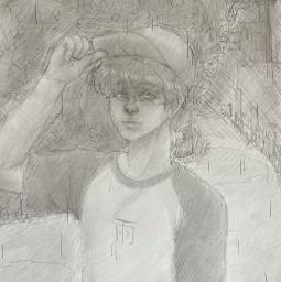art drawing drawingart sketch pencil smudge pencildrawing pencilsketch rain person boy hat cap tshirt 雨