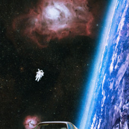 space stars planet earth astronaut car spacecollage surreal surrealism galaxy universe unsplash
