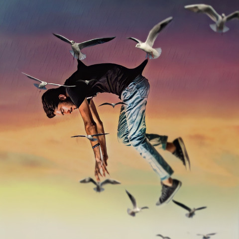 #man,#flying,#birds,#yellowbackground,#aestheticwallpaper,#picsart,#freetoedit,#ircelevating,#elevating