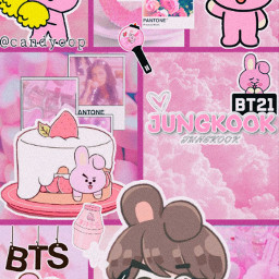 cookybt21 cookybt21edit jungkook jungkookedit bts btsjungkook pink bt21wallpaper btswallpaper