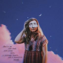 freetoedit woman sky clouds moon stars