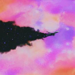 surreal airplane nightsky clouds starrynight magic creativity