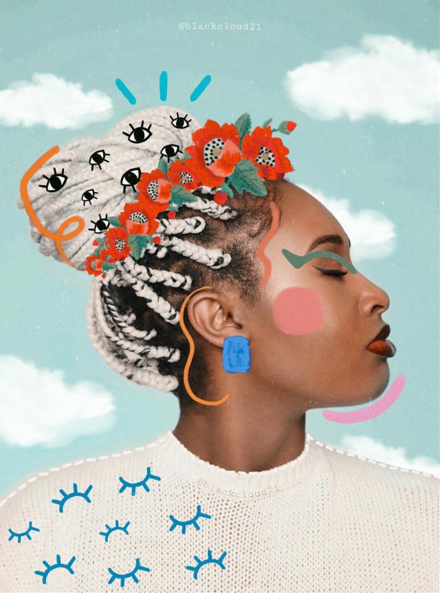 #fccelebrateyourcreativity #celebrateyourcreativity #aesthetic #madewithpicsart #madebyme #myedit #faceart #colorful #clouds #flowers #paint #girl #braids #creativity @picsart Op from Unsplash