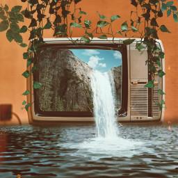 tvstarreplaychallenge retro retrotv vintage surrealedit waterfall mountain nature vines splashofwater picsart picsartchallenge freetoedit interesting cooledit rctvstar tvstar