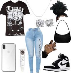 freetoedit dior diorcolkections black tupac white bkackandwhite studs iphone jeans bun nails purse lipgloss jordan1 necklace