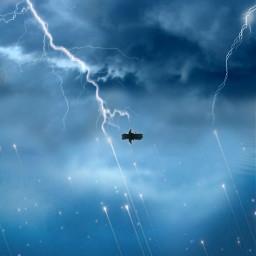 freetoedit idk universe sky sea boat storm thunder lightning