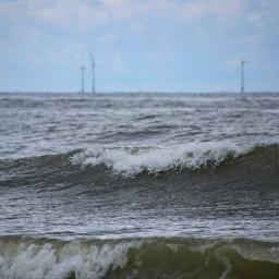 photography sea waves windmills greenpower