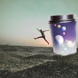 myedit space coffeecup surreal fantasy happiness jumpforjoy freetoedit ircdesignthecup designthecup