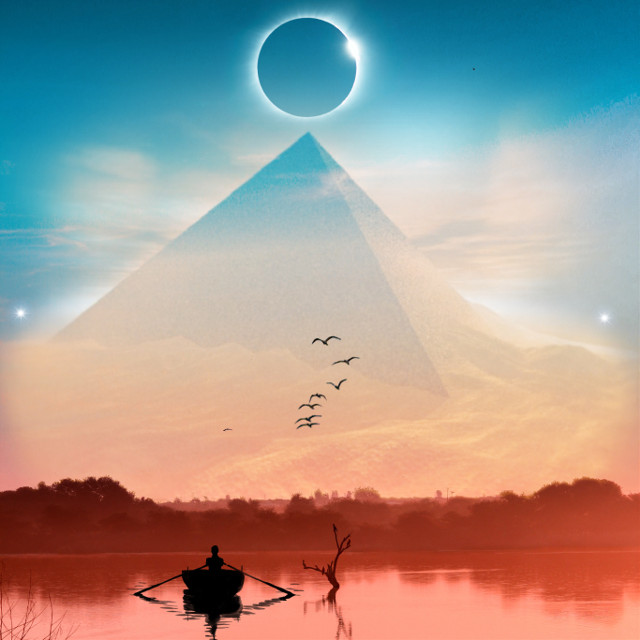 #lake #pyramide #silhouette #boat #clouds #egypt #landscape #desert #eclipse #stars #replay #myreplay #surreal #surrealism #fantasy #imagination #orient_arts #madewithpicsart #heypicsart #papicks #picsart @picsart