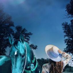 freetoedit light moon girl horse darkness