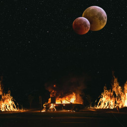 freetoedit moon planets unsplash plrd3 nightsky car fire surrealart surreal madewithpicsart