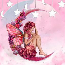 moon star girl pink