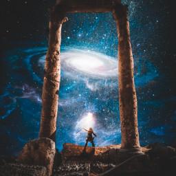 freetoedit madewithpicsart madebyme myedit instagram art artwork surreal fantasty stars galaxy space night starry stardust men man ancient ruins conceptart fotoedit starrysky galaxyedit nightsky picsart