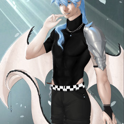 art contest contestentry bluehair oc drawing armor wings dragon demon handsome necklace cyan sketch procreatedrawing procreate dagger horns tail light dark checkered black white