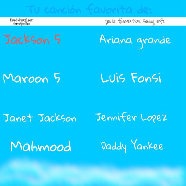 #ladyplavapics #test #singers #jackson5 #arianagrande #maroon5 #luisfonsi #janetjackson #jenniferlopez #mahmood #daddyyankee   *'ESPAÑOL (ESPAÑA)'* Simplemente tienes que poner debajo de cada cantante/ grupo musical tu canción favorita. Hay un remix que será el mío, por eso sería el ejemplo.  +/ ENGLISH \+ You simply have to put your favorite song under each singer or musical group. There will be a remix that would be mine, and it would be the example.  Adiós Bye 。◕o◕。