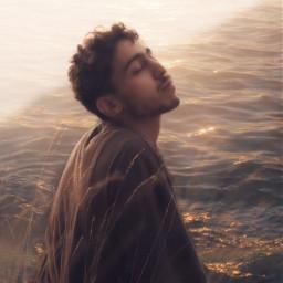 man ocean sunset goldenhour golden freetoedit