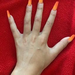 freetoedit nails neonorange pretty