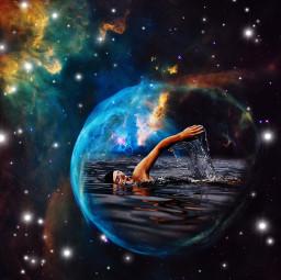 outerspace swimming nebula galaxy stars doubleexposure madewithpicsart freetoedit